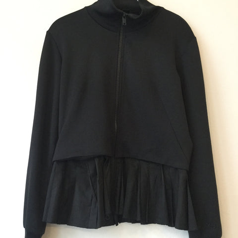 Black Polyester Modern Y-3 Zip Jacket Turtle Neck Pleated Size S/M