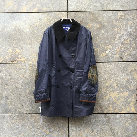Midnight Blue-Dark Color Mix Cotton Comme des Garcons x Junya Watanabe Coat Collar Detail Elbow Patch Size XL/XXL