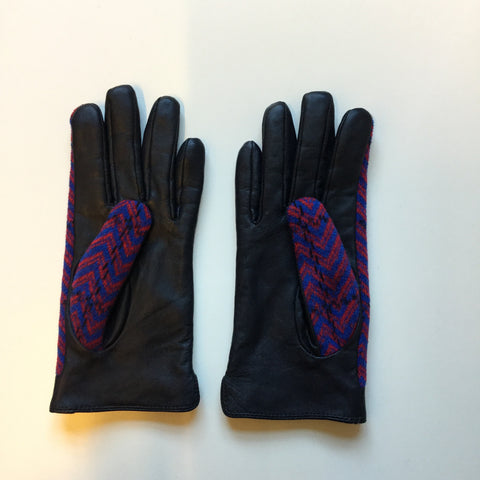 Black-Deep Red Leather / Acrylic Mix Contemporary Main Gloves