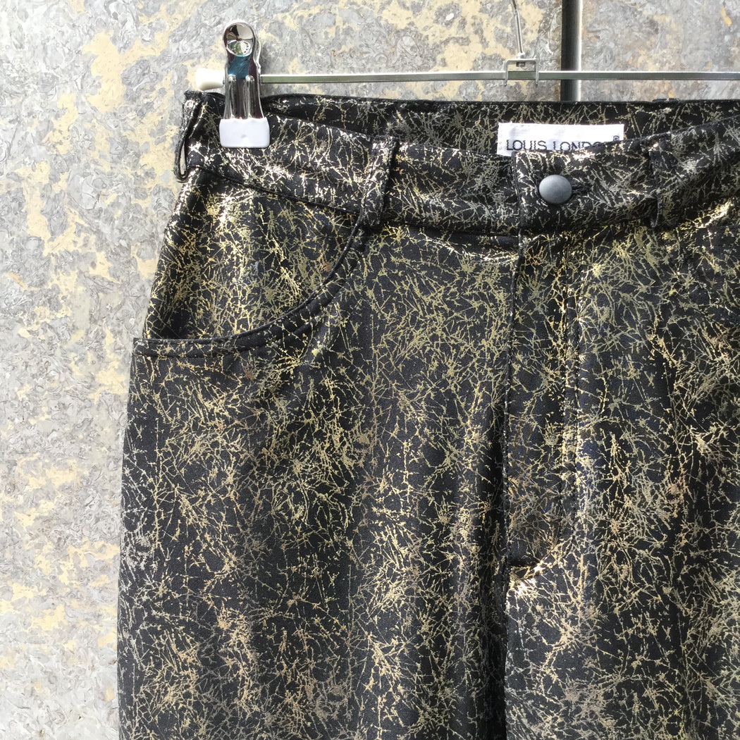 Black-Gold Polyester Mix Contemporary Main Trousers  Size 28/29