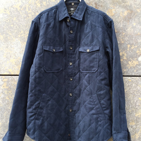 Midnight Blue Polyester Modern Fynch-Hatton Oversized Shirt Elbow Patch Size M/L