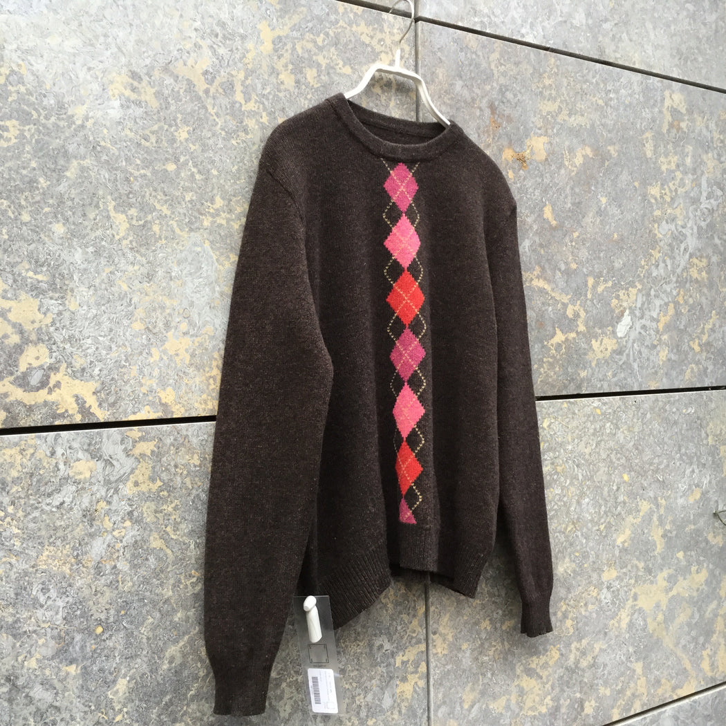 Brown Wool Mix Contemporary Main Sweater  Size S/M