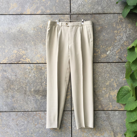 Morning Gray Polyester Modern Burberry Trousers Wide Leg Pleated Size 32