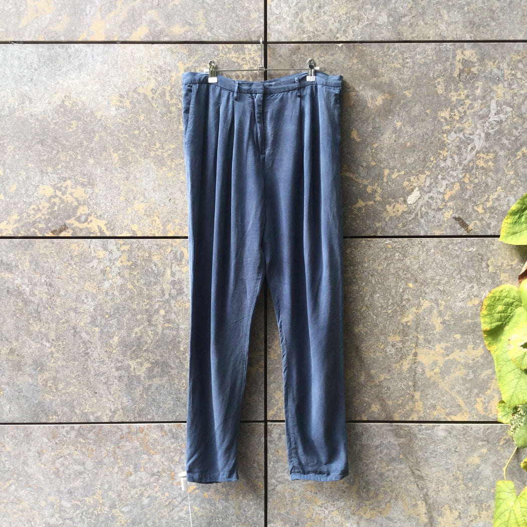 Heather Blue Silk Wood Wood Trousers  Size 29/30
