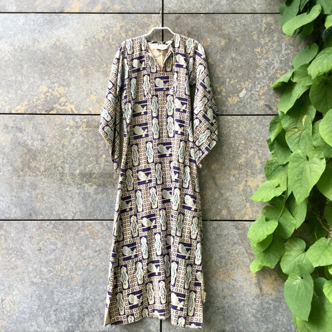 Straw-Dark Blue Cotton Vintage Maxi Dress Trumpet Sleeve Size S/M
