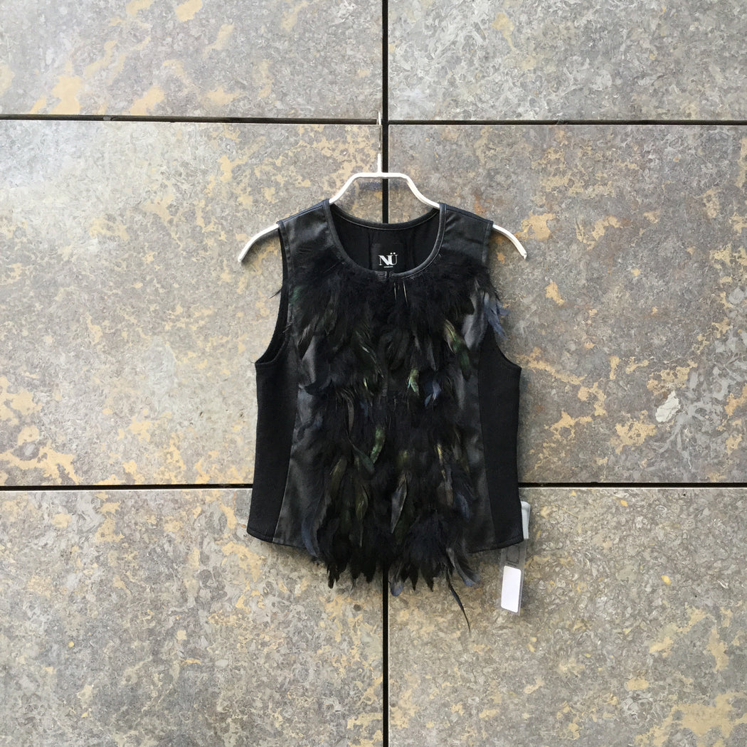 Black Feathers Contemporary Main Light Vest Metail Iridescent Size Xs/S