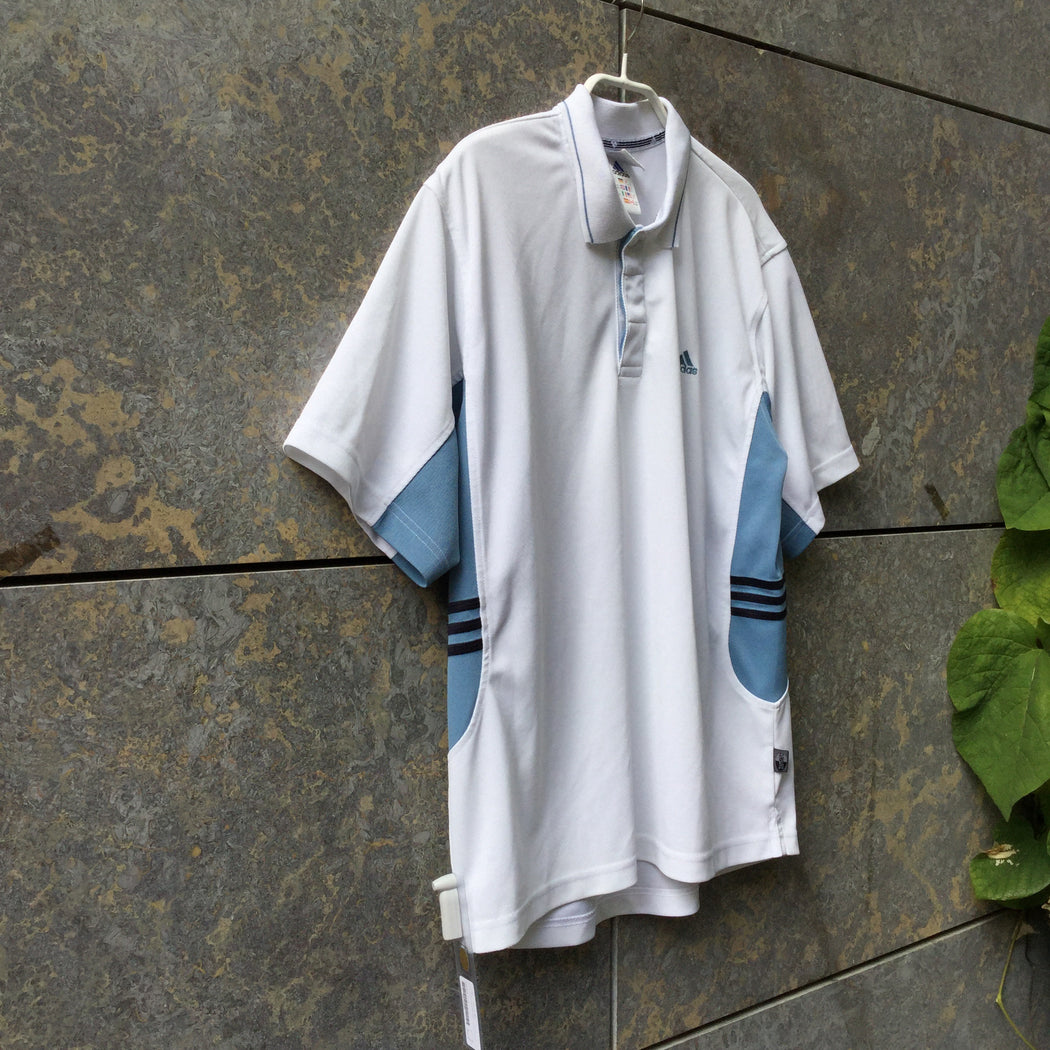 White-Heather Blue Polyester Modern Adidas Polo Shirt Collar Detail Size M/L