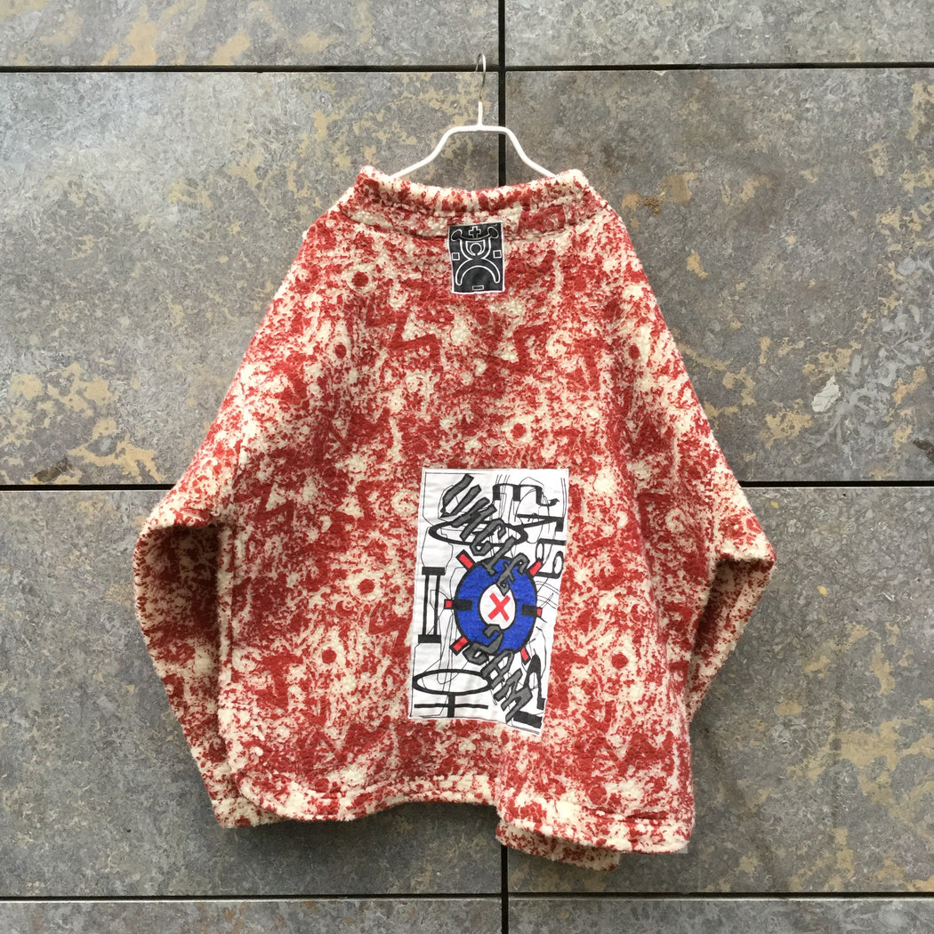 Ox Blood-White Polyamide Vintage Sweatshirt Boxy Size L/XL