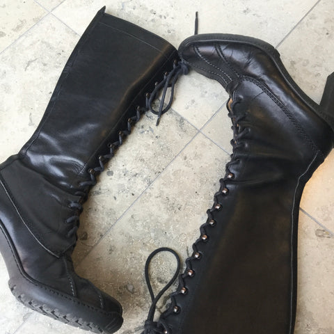 Black Leather Ralph Lauren Knee-high Boots  Size 38