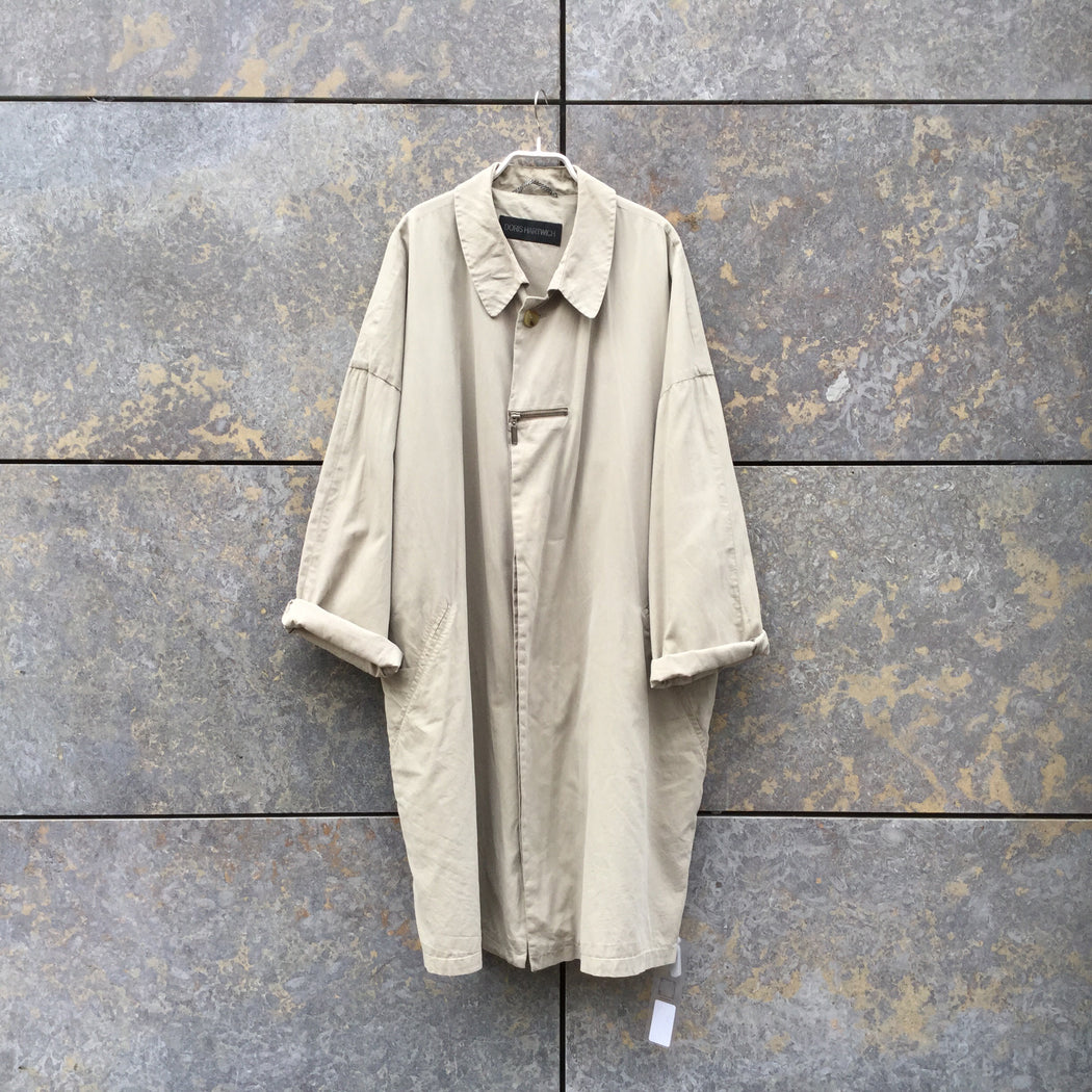 Beige Cotton Mix Vintage Trench Coat  Size Xl