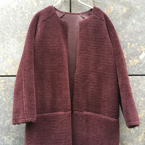 Wine Faux Fur Samsoe And Samsoe Coat Raw Hem Conceptual Detail Size L/XL