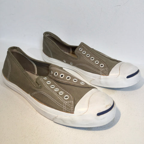 Grey Taupe-White Canvas Comme des Garcons x Junya Watanabe Slip On Conceptual Detail Size 42