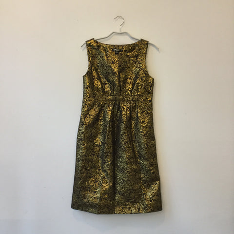 Gold Cotton / Poly Mix Dkny Doll Dress Sleeveless Size M/L