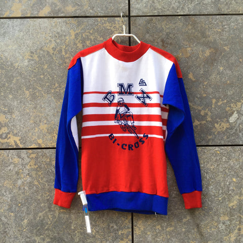 Tricolor Cotton / Acrylic Mix Vintage Sweater Elbow Patch Size M/L