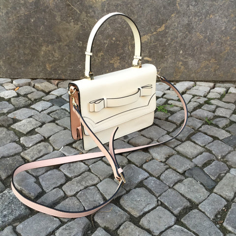 Nude White Leather Red by Valentino Cross-body Bag  Size Os