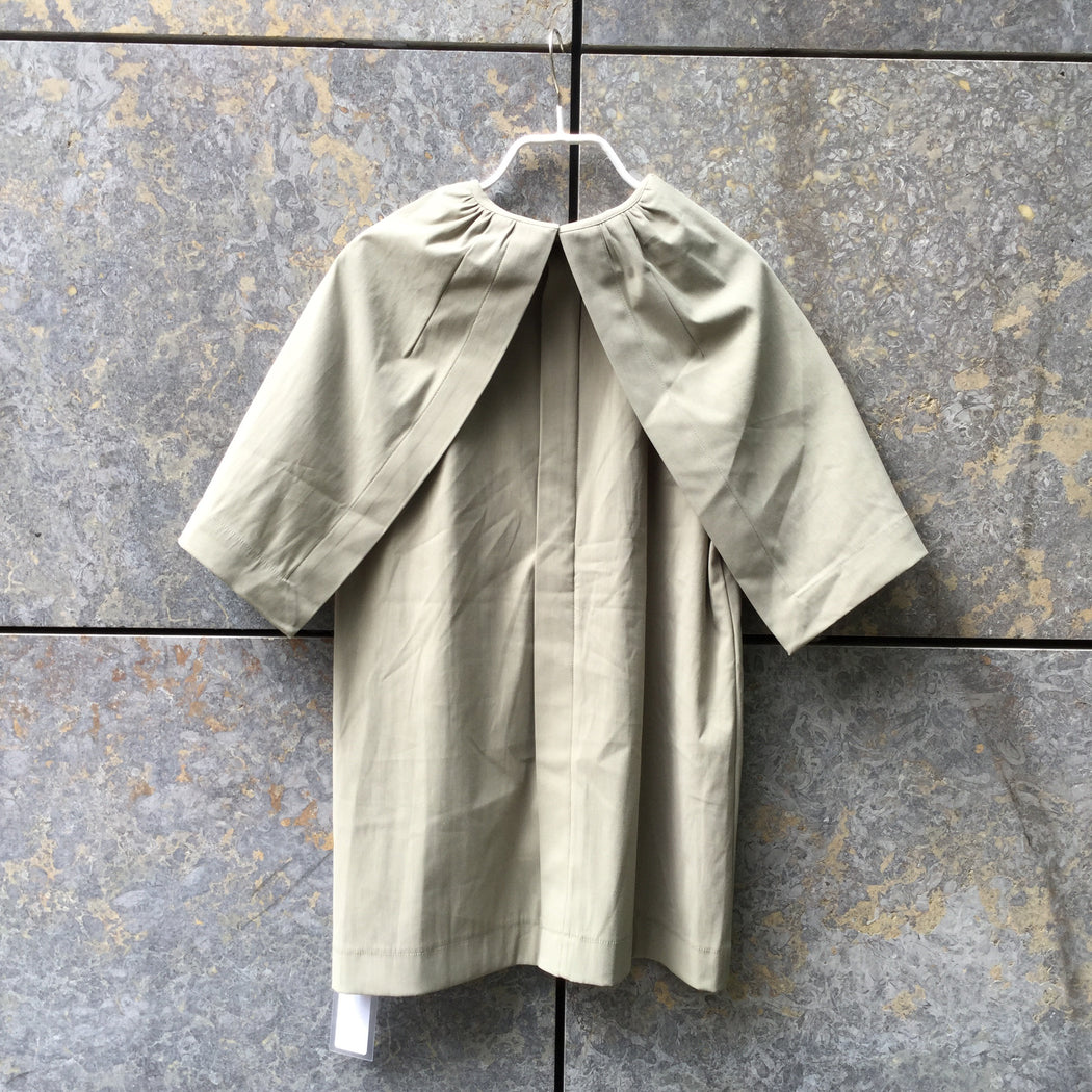 Beige Cotton COS Top short sleeve Collar Detail Size S/M