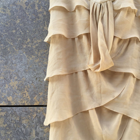 Sand Silk Mix Contemporary Main Halter Dress Ruffled Size S/M