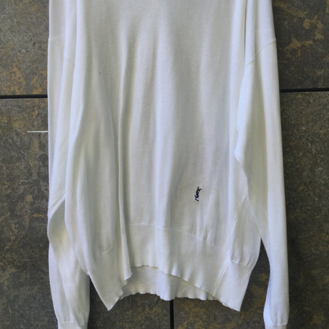 White-Black Cotton Yves Saint Laurent Light Sweater V-neck Oversized Size XL/XXL