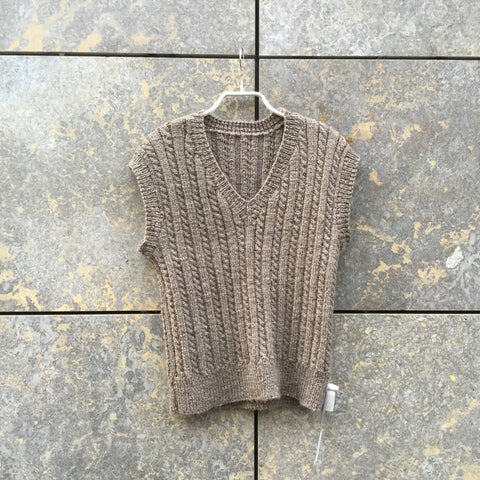 Brown Grey Wool Independent Knit Top  Size Xs/S