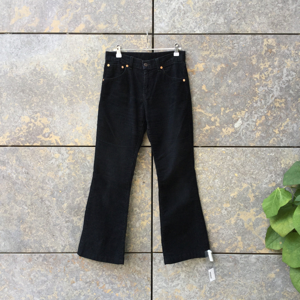 Black Corduroy Levi's Trousers Bell Bottom Size 26/27
