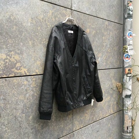 Black Leather Contemporary Main Leather Jacket Button Through Size S/M