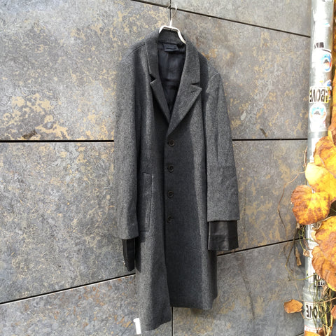 Slate-Black Leather / Wool Diesel Black Gold Blazer-jacket Conceptual Detail Sleeve Detail Size XL/XXL