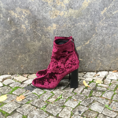 Wine Velour Contemporary Main Ankle Boot Heels Round Toe Fat Heel Size 39
