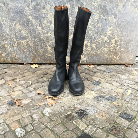 Black Leather Massimo Dutti Knee-high Boots Zippered Size 38
