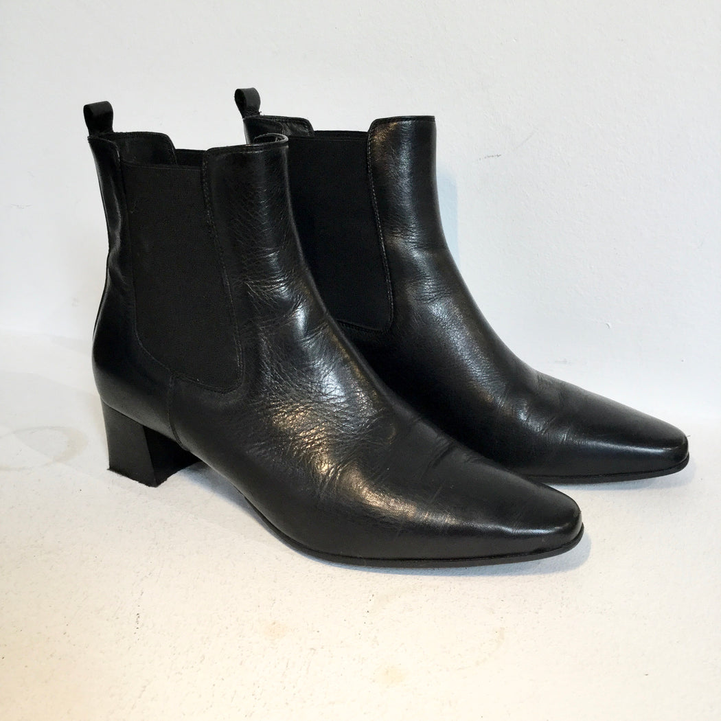 Black Leather Violafonti Ankle Boot Heels Fat Heel Size 39
