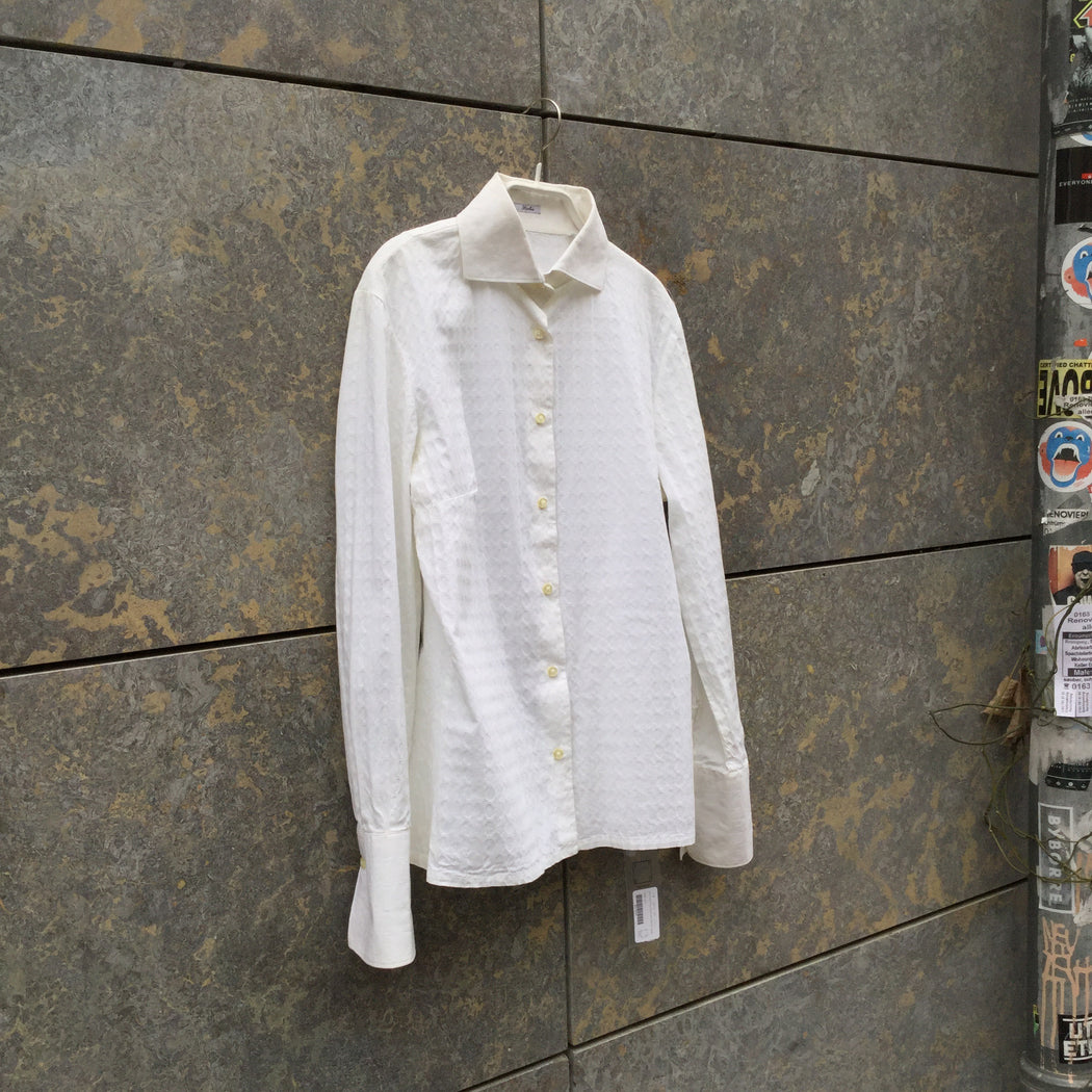 Cream Cotton / Rayon Mix Contemporary Main Shirt  Size M/L
