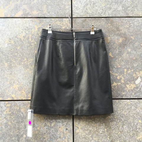 Black-Silver Leather Hugo Boss Red Label Mini Skirt Stitching Detail Size 26/27
