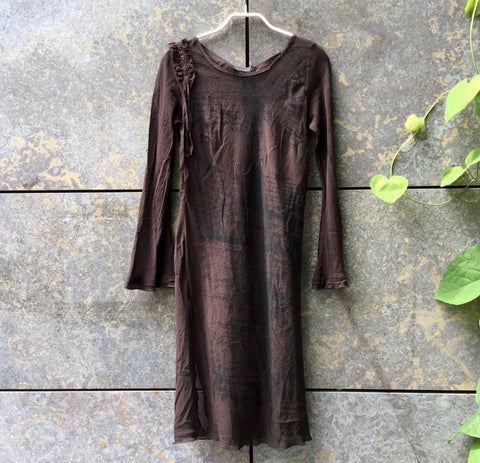 Chocolate-Black Polyester Modern Ikks Layering Top Sheer Trumpet Sleeve Size M/L