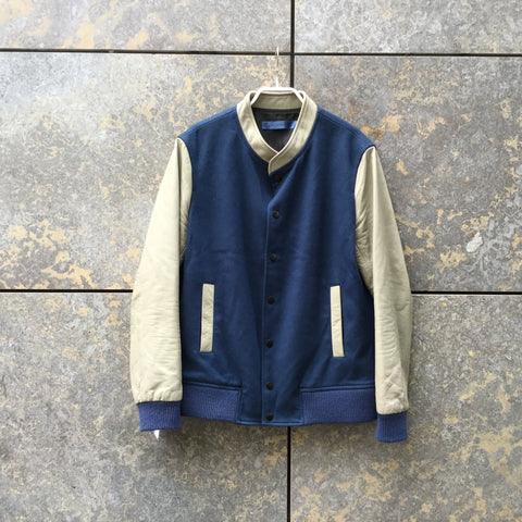 Blue-Beige Leather / Wool Contemporary Varsity Jacket  Size M
