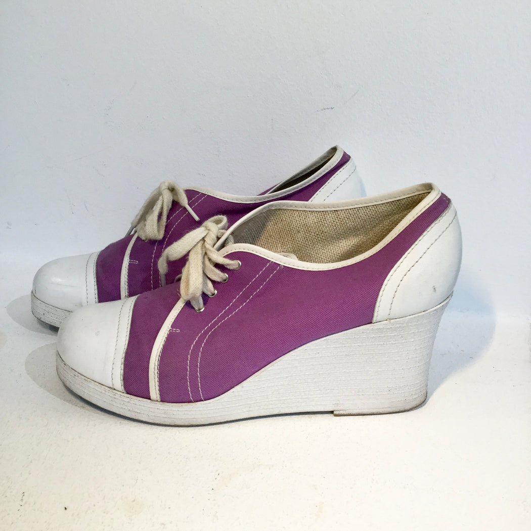 White-Lavender Leather / Canvas Mix Vintage Sneaker Heels  Size 41