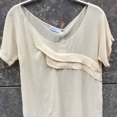 Beige Silk See By Chloé Blouse Sheer Ruffled Size S/M