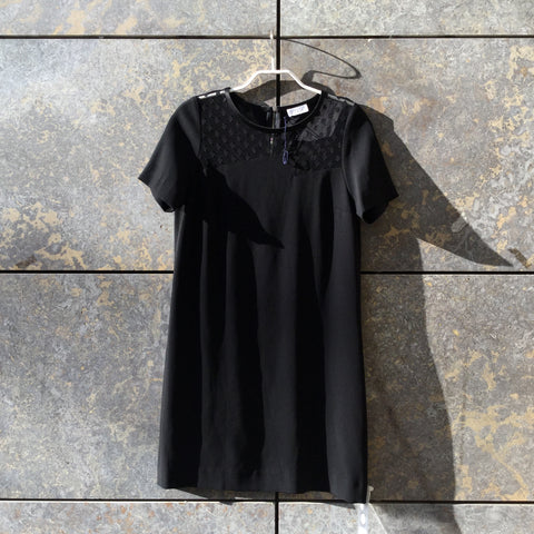 Black Rayon Claudie Pierlot Dress Lace Detail Size S/M