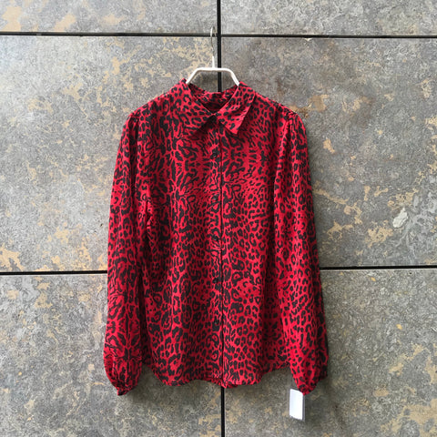 Black-Red Silk Contemporary Main Shirt Button Through Size S/M