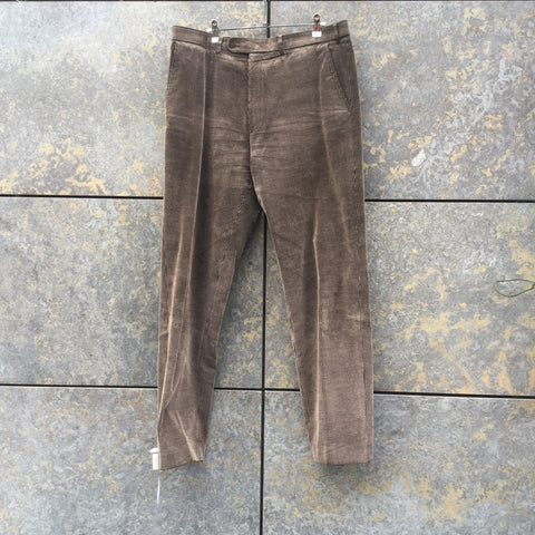 Brown-Black Corduroy Contemporary Designer Trousers  Size 36