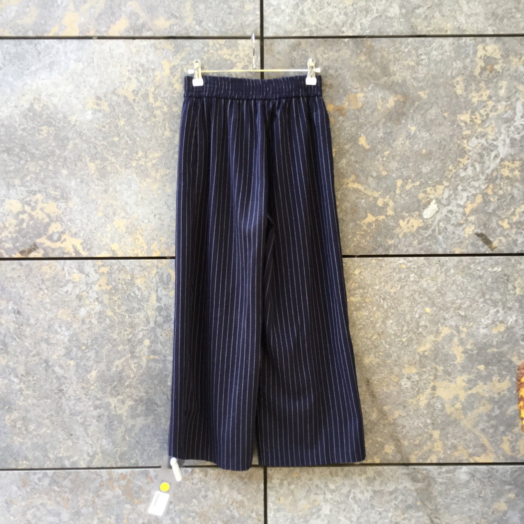 Midnight Blue-Pearl Rayon Mix Contemporary Main Trousers Stretch Waist Wide Leg Size 25/26