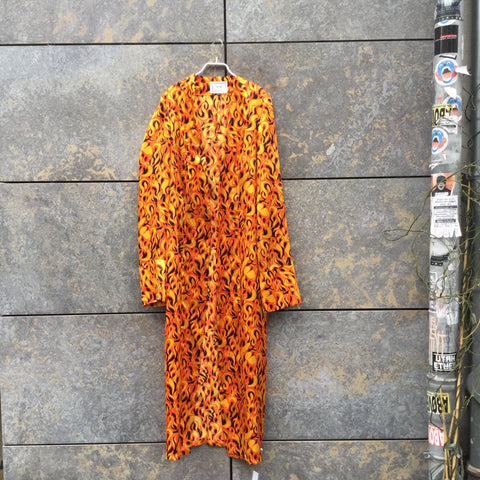 Red-Orange Polyester Modern Independent Robe Trumpet Sleeve Size Os