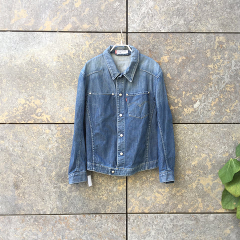 Denim Blue Denim Levi's Jeans Jacket Tapered Size M
