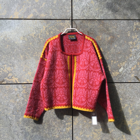 Red-Pale Red Wool Vintage Sweater Loose-fit Collar Detail Size L/XL