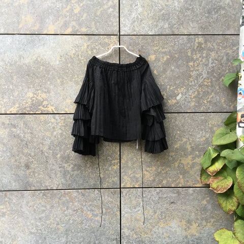 Black Polyester Mix Contemporary Top LS Layered Size M/L