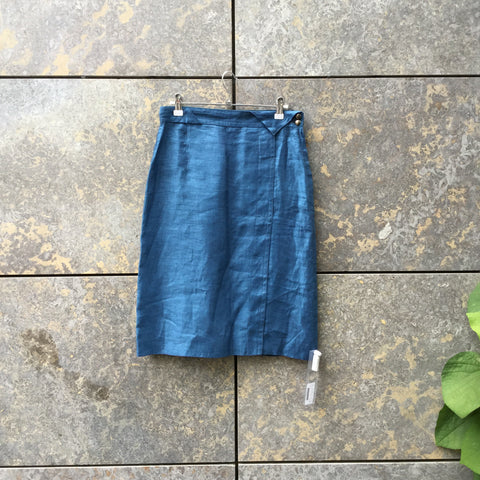 Denim Blue Linen Jil Sander Pencil Skirt Stitching Detail Size 32/33