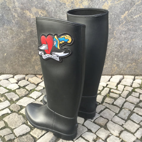 Black Rubber Love Moschino Rain Boots  Size 5.5