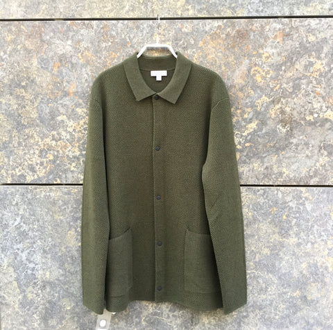 Army Wool COS Knit Jacket Boxy Oversized Pocket Size M/L