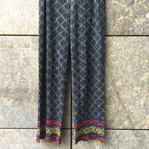 Dark Color Mix Polyester Modern Issey Miyake Pleats Please Trousers  Size 29/30