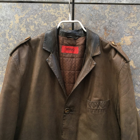 Dark Leather Brown Leather Hugo Boss Leather Jacket  Size M