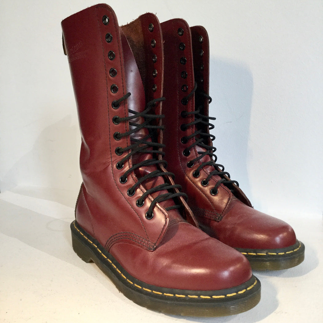 Ox Blood-Black Leather Dr. Martens Combat Boots  Size 40