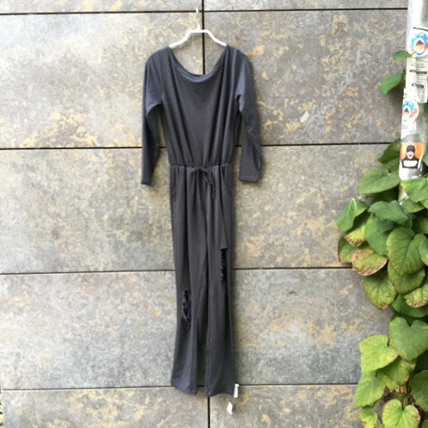 Dark Grey Cotton / Poly Mix Contemporary Main Romper Cut Up Size M/L